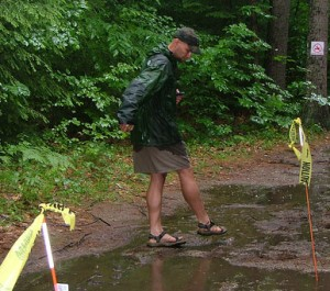 Jamie Anderson @ the finish line playing in the mud