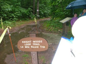 The Knight Woods Trail sign at the finish line