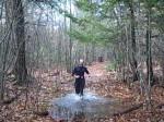 Alan Morrison going through a puddle