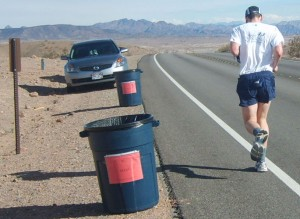 Blaine running away from the Mile 41 aid station