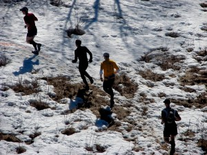 Runners in Snow