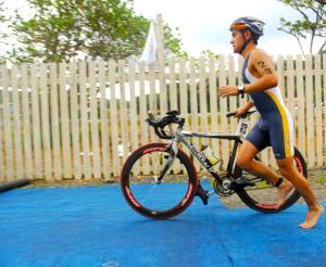 Triathlete with Bike
