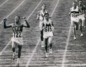 Billy Mills Crossing the Finish Line 1964 Olympics